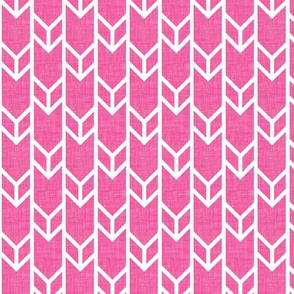 double chevron hot pink linen