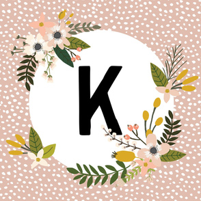 Blush Sprigs and Blooms Monogram Blanket // K