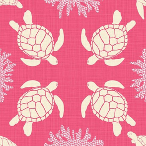 Sea Turtles on Rose Linen - Vintage Seafarer Whales Palette