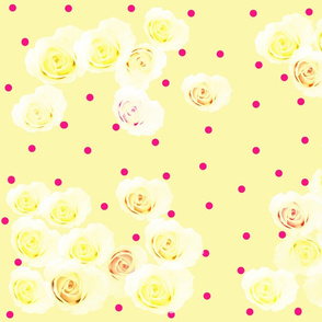 Sunny Yellow Roses w Tiny Red Dot
