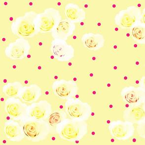 Sunny Yellow Roses w Tiny Red Dot