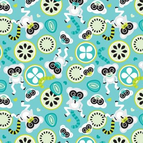 Lemurs in lime and turquoise illustration for kids