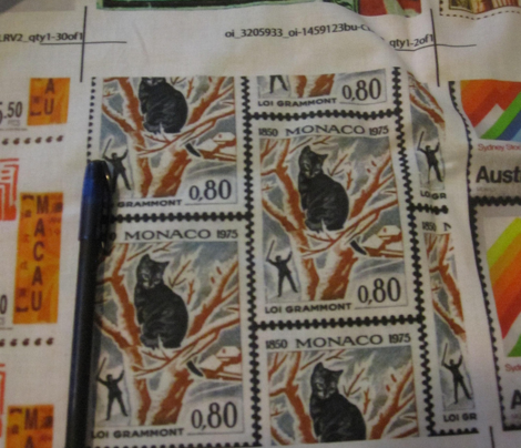 Cat stuck in tree stamp