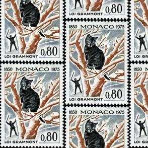 Cat stuck in tree stamp