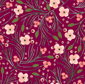 winter floral // pine on garnet