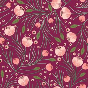 winter floral // pine on garnet