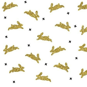 bunnies gold glitter v. III on white