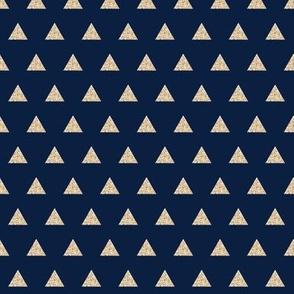 gold glitter v. I triangles on navy // small
