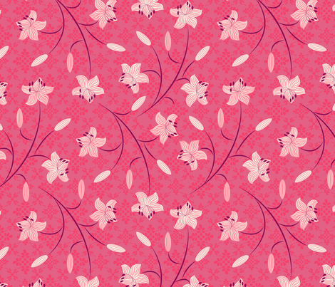 Lilies Cerise fabric by jill_o_connor on Spoonflower - custom fabric