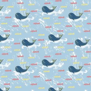 Whale Wave Riding - Blue Ocean