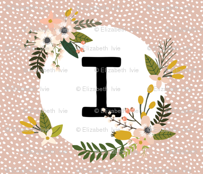 Blush Sprigs and Blooms Monogram Blanket // I