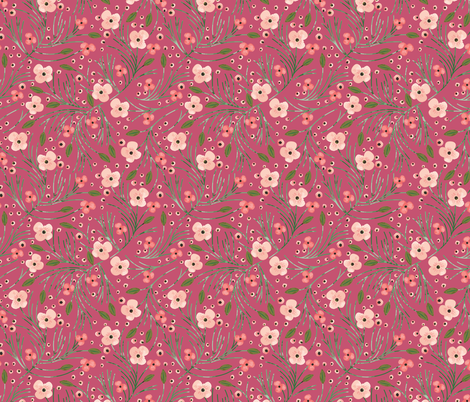 winter floral // pine on wine fabric by eivie&co on Spoonflower - custom fabric