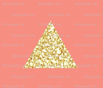 gold glitter triangles on geranium