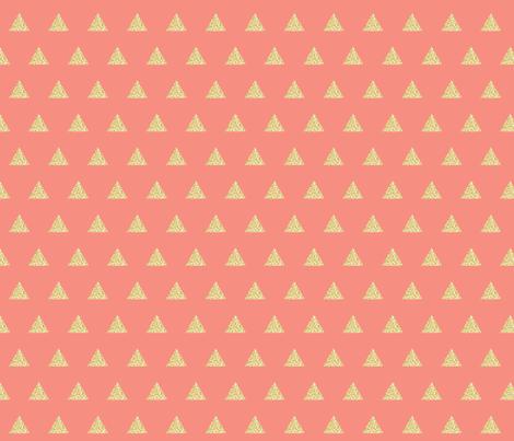 gold glitter triangles on geranium fabric by eivie&co on Spoonflower - custom fabric