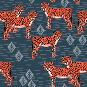 Cheetahs - Parisian Blue/Coral by Andrea Lauren