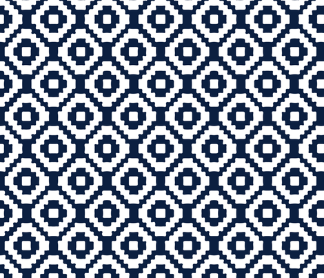navy giant aztec fabric by ivieclothco on Spoonflower - custom fabric