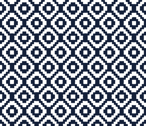 navy giant aztec fabric by eivie&co on Spoonflower - custom fabric