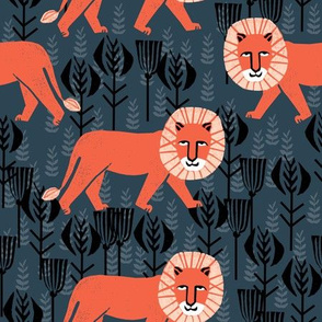 Safari Lion - Parisian Blue/Coral