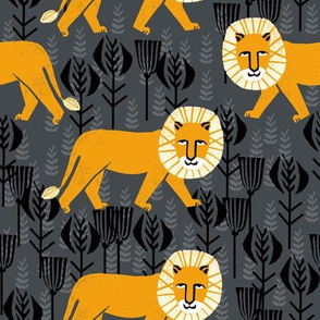Safari Lion - Turmeric/Charcoal by Andrea Lauren