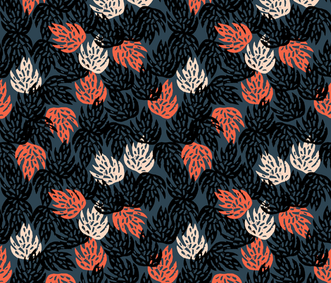 Safari Leaves - Parisian Blue/Coral/Blush by Andrea Lauren fabric by andrea_lauren on Spoonflower - custom fabric