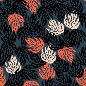 Safari Leaves - Parisian Blue/Coral/Blush by Andrea Lauren