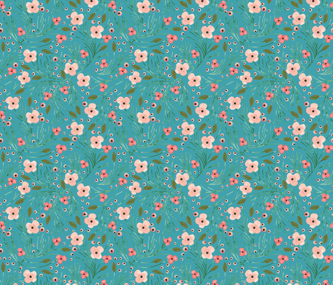 winter floral // pine on juniper fabric by eivie&co on Spoonflower - custom fabric