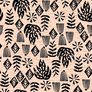 tropical plants // safari tiger collection tropical block print stamps