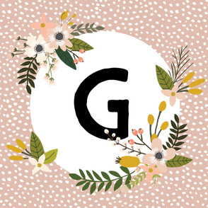 Blush Sprigs and Blooms Monogram Blanket // G