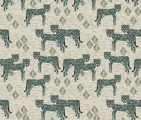 Cheetah - Raf Blue by Andrea Lauren fabric by andrea_lauren on Spoonflower - custom fabric