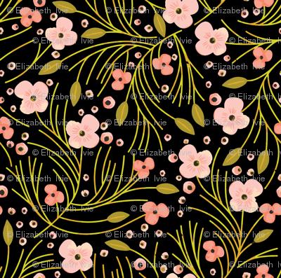 winter floral // mustard on black