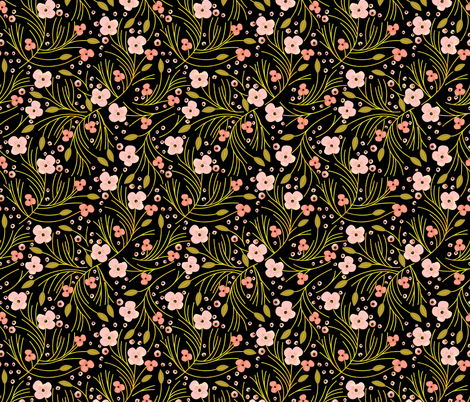 winter floral // mustard on black fabric by ivieclothco on Spoonflower - custom fabric