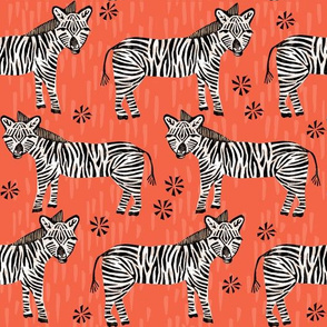 Safari Zebra - Coral by Andrea Lauren