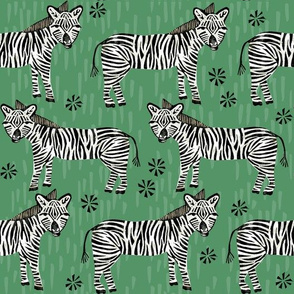 Safari Zebra - Kelly Green by Andrea Lauren