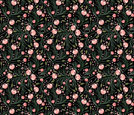 winter floral // pine on black fabric by ivieclothco on Spoonflower - custom fabric