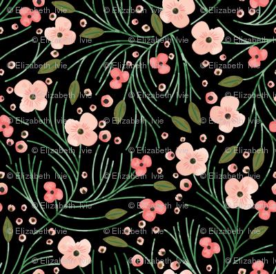 winter floral // pine on black