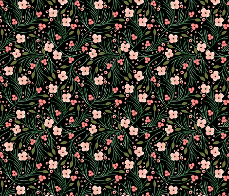 winter floral // pine on black fabric by eivie&co on Spoonflower - custom fabric