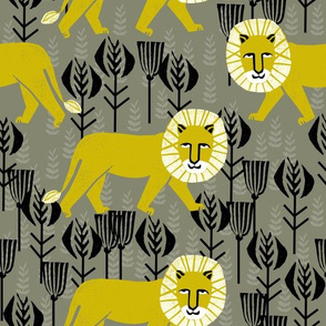 Safari Lion - Goldenrod/Olive/Black by Andrea Lauren