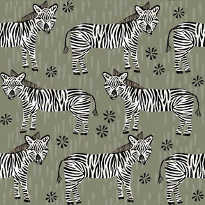 Safari Zebra - Olive by Andrea Lauren
