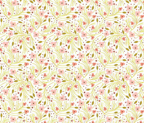 winter floral // mustard fabric by eivie&co on Spoonflower - custom fabric