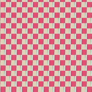 Mint Green and Coral Pink Cream Boho Checkerboard