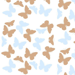 mocha ice blue butterflies on white