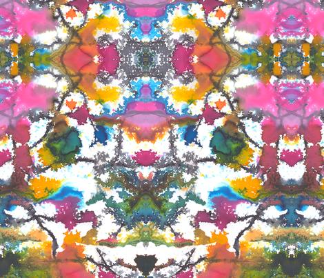 Watercolour kaleidoscope fabric by lizplummer on Spoonflower - custom fabric