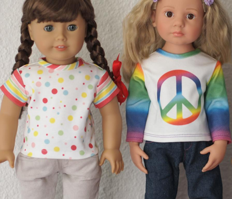 American Girl Doll Cut and Sew T-Shirts