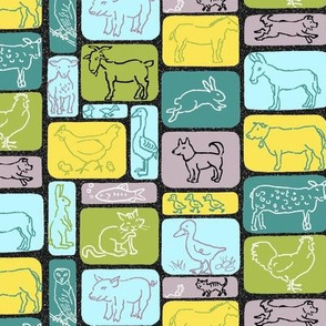 Farm Animal Rectangles Black
