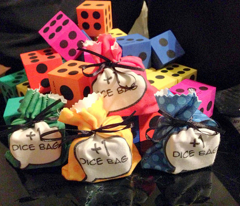 Geeky Comic Favor Dice Bags