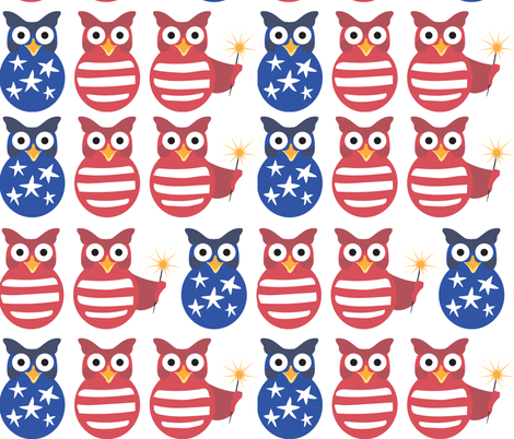 Patriotic Owls fabric by lisakubenez on Spoonflower - custom fabric