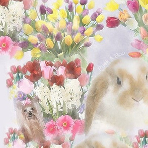 Yorkie -Easter Bunny Yorkie Tulips - Spring