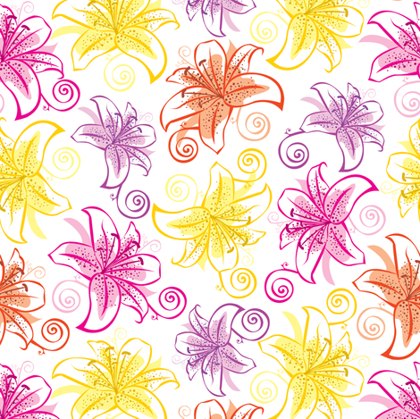 Lively Lilies! fabric by illustrative_images on Spoonflower - custom fabric