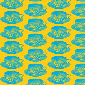 blue and yellow teacup