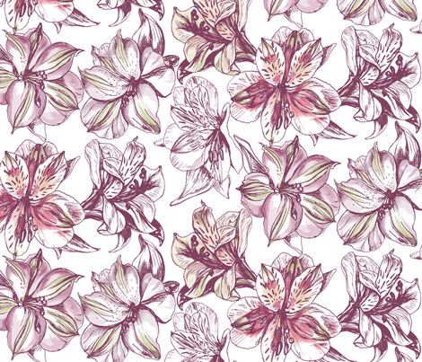 Peruvian Lilies fabric by rebeccajean on Spoonflower - custom fabric